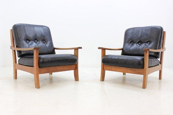 Admirable Scandinavian Black Leather Armchairs 1960S Set Of 2 Inzonedesignstudio Interior Chair Design Inzonedesignstudiocom