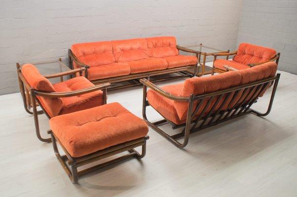 Mid-Century Italian Bamboo Living Room Set, 1960s for sale at Pamono