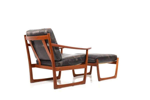 Vintage Danish Lounge Chair and Ottoman by Peter Hvidt & Orla Mølgaard Nielsen for France & Søn