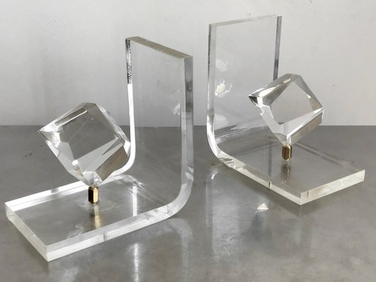 Vintage Lucite Bookends Set Of 2 For