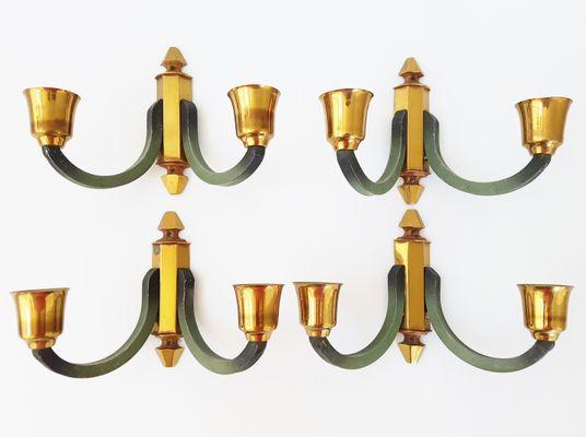Lampade da parete mid century in ottone ed acciaio francia anni