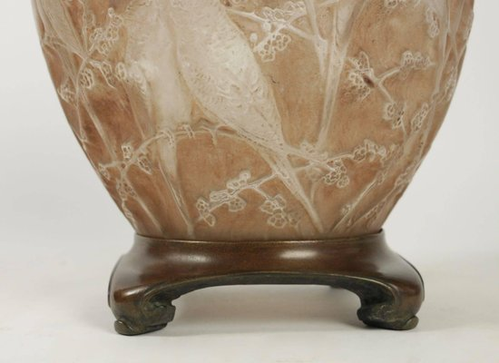 Antique Frosted Sepia Stained Perruches Vase By Rene Lalique For