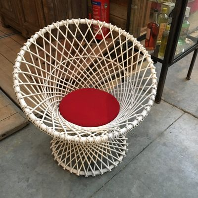 Vintage White Wicker Side Chair, 1980s 1
