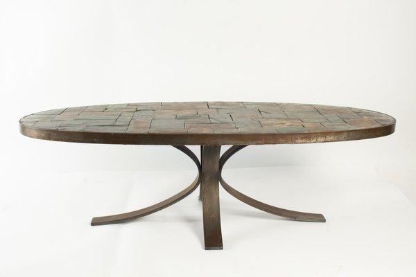 Table Basse Ovale Vintage En Fer Forge Pierre En Vente Sur Pamono