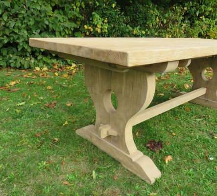 French Oak Extending Refectory Dining Table 1940s 3