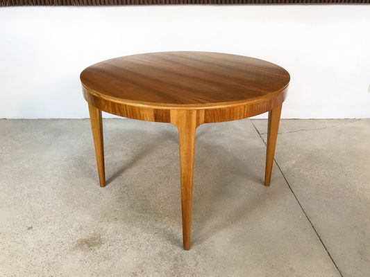 Large German Walnut Round Side Table 1950s 2