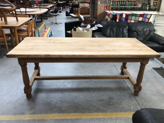 Merveilleux Vintage Solid Oak Farmhouse Table 1