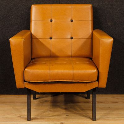 Vintage Italian Lounge Chairs In Faux Leather Metal