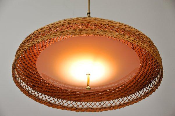 Rotin Tissé1960s À Ajustable Lampe En Suspension dsQCthr