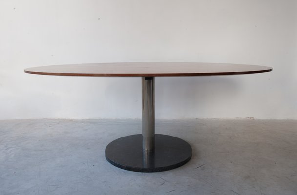 Oval Shaped Walnut Dining Table By Alfred Hendrickx For Belform 1960s