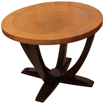 Franzosischer Art Deco Tisch Aus Holz Leder 1930er Bei Pamono