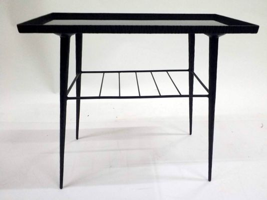 Glass U0026 Hand Wrought Iron Side Table, 1970s