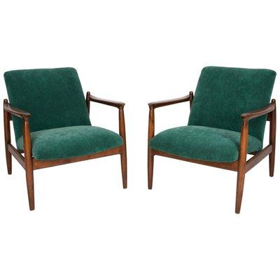 Dark Green Velvet Armchairs By Edmund Homa 1960s Set Of 2