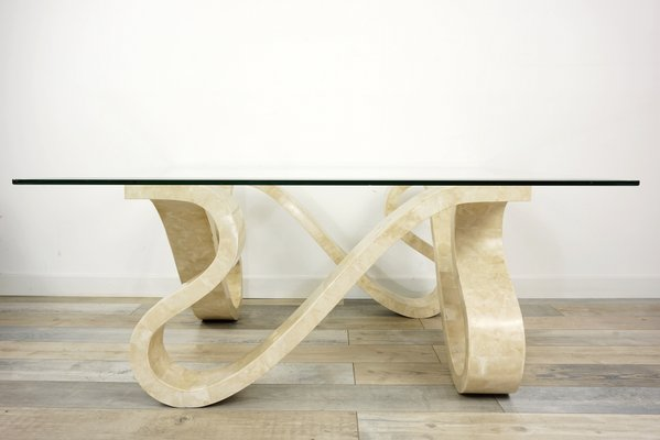 Coffee Table In Stone Marquetry And Beveled Gl 1970s