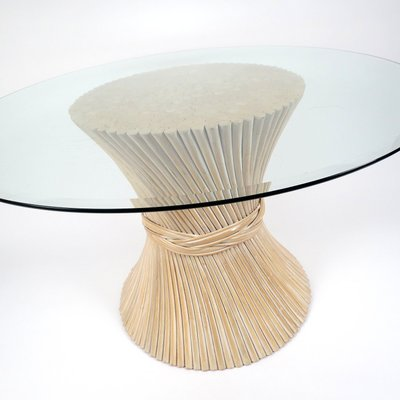 Wheat Sheaf Rattan Dining Table 1970s