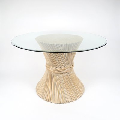 Wheat Sheaf Rattan Dining Table 1970s 1