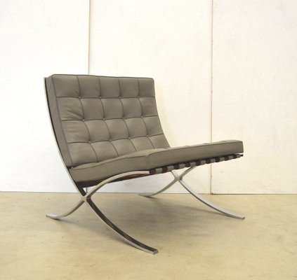 Grey Barcelona Chair By Mies Van Der Rohe For Knoll International