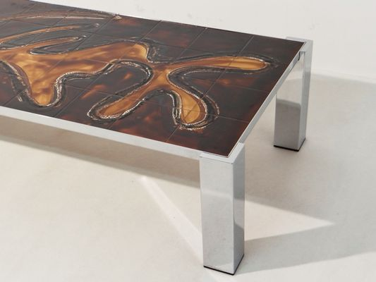 Mid Century Coffee Table With Chromed Frame Tiles 1960s