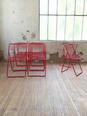 Rojo IkeaJuego Para Plegables Vintage De Sillas 4 Niels Ted Gammelgaard En BeCdox