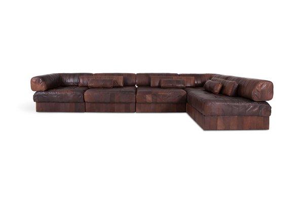 Brown Cognac Leather Modular Sofa From De Sede