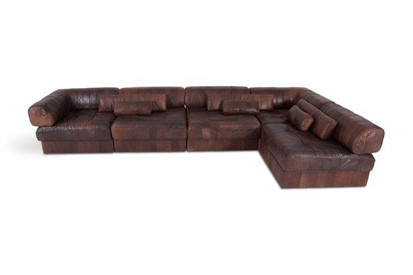 Brown & Cognac Leather Modular Sofa from de Sede
