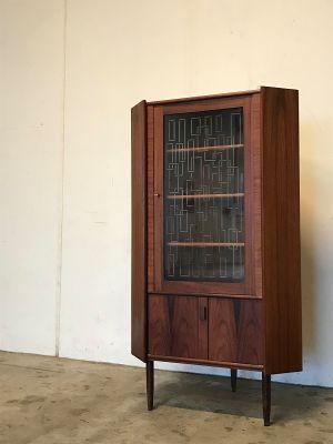 Mid Century Modern Danish Rosewood Corner Cabinet With Gl Door 1