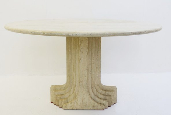 Vintage Italian Travertine Dining Table By Carlo Scarpa 1
