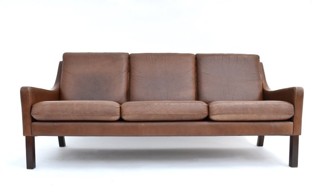 Danish Tan Brown Leather 3-Seater Sofa, 1960s for sale at Pamono