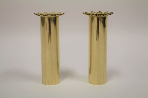 Brass Flower Vases by Pierre Forsell for Skultuna 1970s Set of 2 7 & Brass Flower Vases by Pierre Forsell for Skultuna 1970s Set of 2 ...