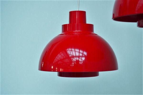 Lampade a sospensione minisol in plastica rossa di k kewo per
