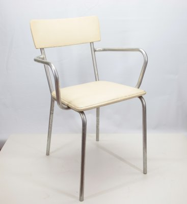 Aluminum And Faux Leather Armchair, 1930s 1