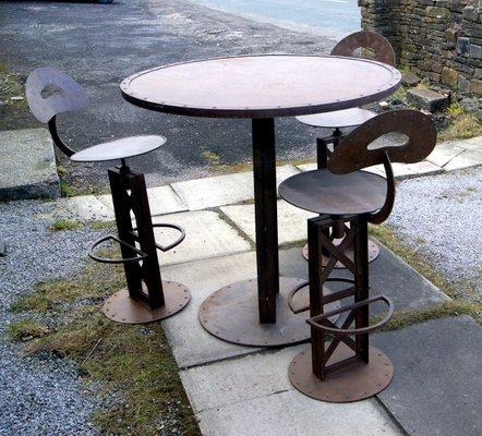 Bistrotisch Mit Stühlen Outdoor.Französischer Vintage Bistrotisch 3 Stühle