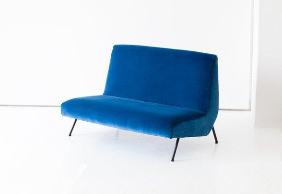 Canape En Velours Bleu Italie 1950s