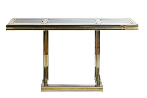 Italian Brass, Chrome, And Glass Console Table By Romeo Rega, 1960s