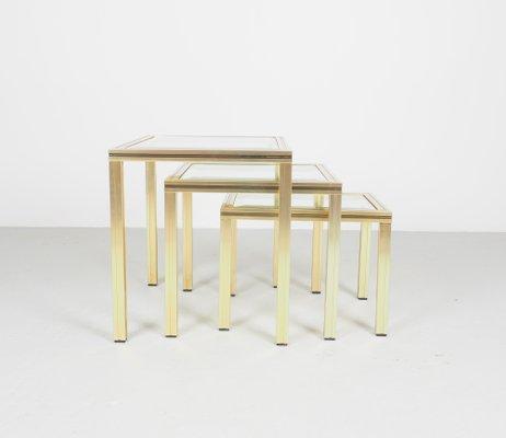 Tables Gigognes Vintage En Aluminium Dore Avec Plateau En Verre Par Pierre Vandel