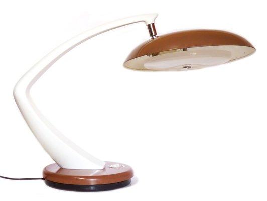 Lampada da scrivania boomerang vintage marrone e bianca di fase