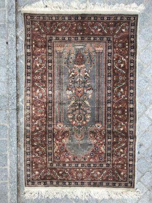 Vintage Turkish Silk Kayseri Rug 1