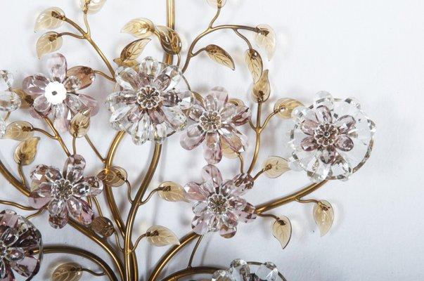 Applique con fiori in vetro di lobmeyr anni 50 in vendita su pamono