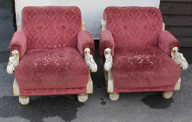 Pink Armchairs From Harrods, 1980s, Set Of 2 1