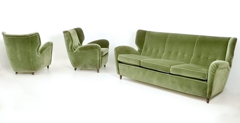 Italian Olive Green Velvet Sofa With
