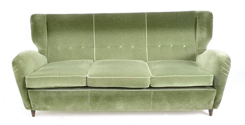 Outstanding Italian Olive Green Velvet Sofa With Ebonized Wood Feet 1950S Machost Co Dining Chair Design Ideas Machostcouk