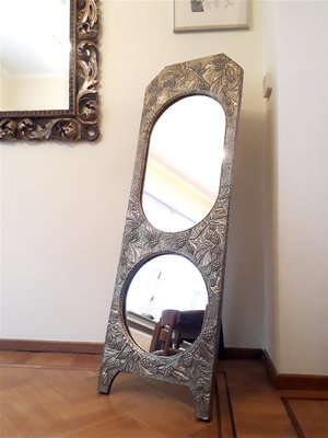 Antique Art Nouveau Brass Free Standing Mirror For Sale At Pamono