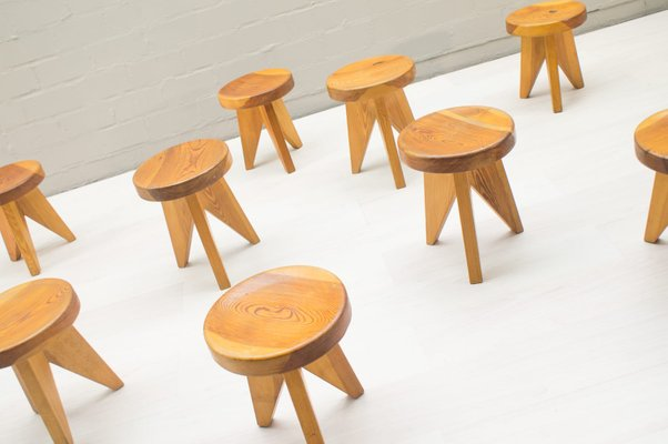 Magnificent French Three Legged Wooden Stools 1960S Set Of 9 Short Links Chair Design For Home Short Linksinfo
