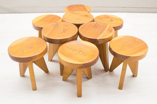 Prime French Three Legged Wooden Stools 1960S Set Of 9 Pabps2019 Chair Design Images Pabps2019Com