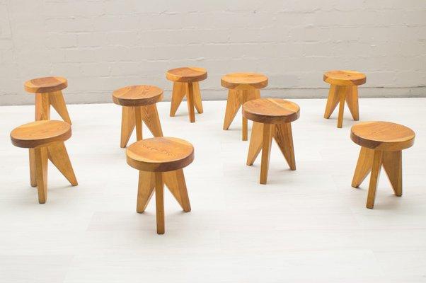 Sgabelli tripodi in legno francia anni set di in