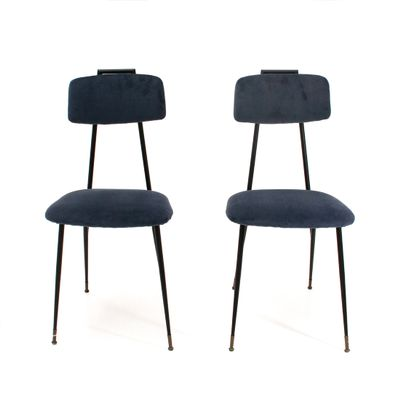 Metal And Blue Velvet Chairs 1950s Set Of 2 For Sale At Pamono