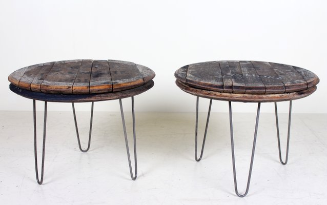 Vintage Industrial Coffee Tables With Oak Whiskey Barrel Lids Set
