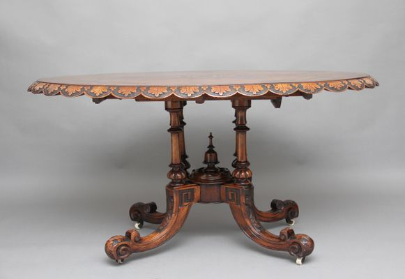 Tavolo rotondo antico in radica di noce in vendita su Pamono