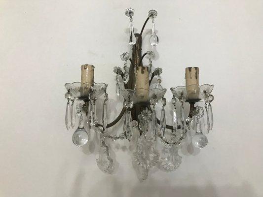 Applique vintage in cristallo con gocce in vetro di murano set di