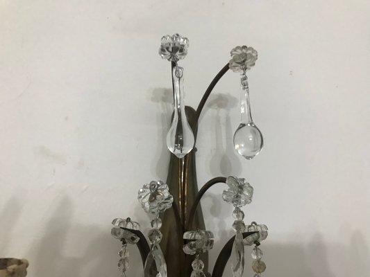 Applique vintage in cristallo con gocce in vetro di murano set di 3